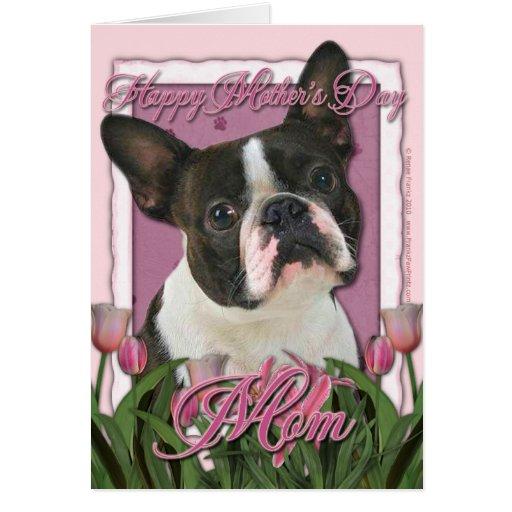 Día de madres - tulipanes rosados - Boston Terrier Tarjeta De Felicitación