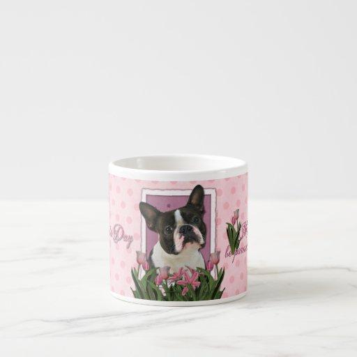 Día de madres - tulipanes rosados - Boston Terrier Tazita Espresso