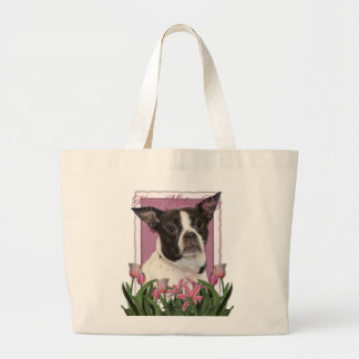 Día de madres - tulipanes rosados Boston y mezcla Bolsa Tela Grande