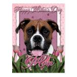 Día de madres - tulipanes rosados - boxeador - postal