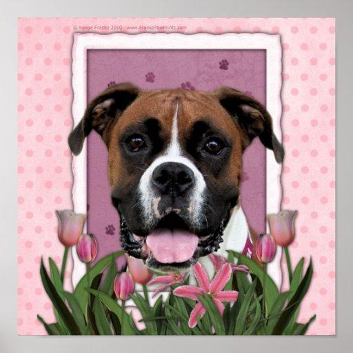 Día de madres - tulipanes rosados - boxeador - Vin Póster