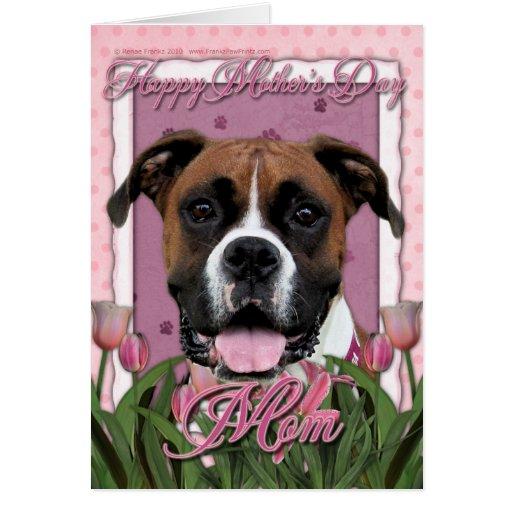 Día de madres - tulipanes rosados - boxeador - Vin Tarjetón