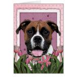 Día de madres - tulipanes rosados - boxeador - Vin Felicitación