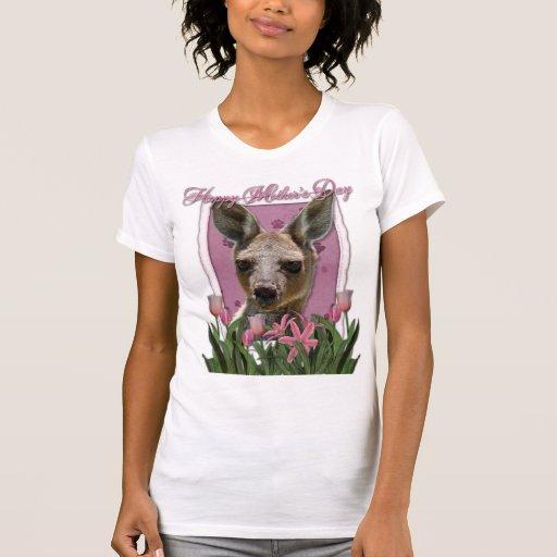 Día de madres - tulipanes rosados - canguro camisetas