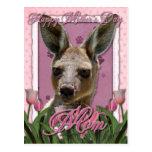 Día de madres - tulipanes rosados - canguro postal