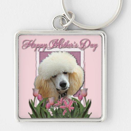 Día de madres - tulipanes rosados - caniche - alba llavero personalizado