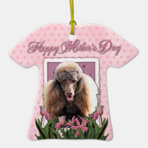 Día de madres - tulipanes rosados - caniche - ornamento de reyes magos