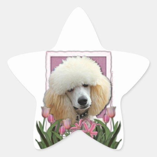 Día de madres - tulipanes rosados - caniche - pegatina en forma de estrella