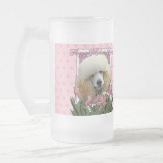 Día de madres - tulipanes rosados - caniche - taza de cristal