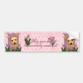 Día de madres - tulipanes rosados - chihuahua pegatina de parachoque
