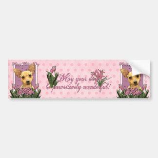 Día de madres - tulipanes rosados - chihuahua etiqueta de parachoque
