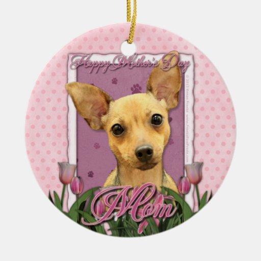 Día de madres - tulipanes rosados - chihuahua ornaments para arbol de navidad