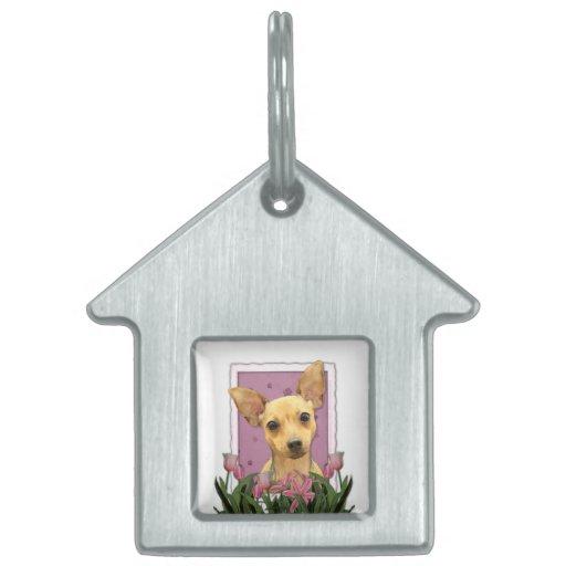 Día de madres - tulipanes rosados - chihuahua placas de nombre de mascota
