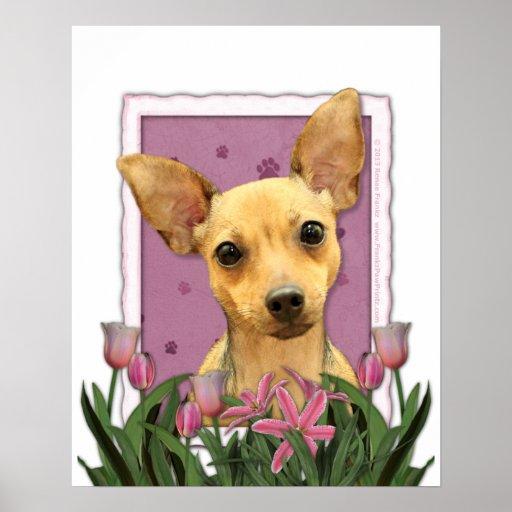 Día de madres - tulipanes rosados - chihuahua poster