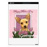 Día de madres - tulipanes rosados - chihuahua consola PS3 slim calcomanía
