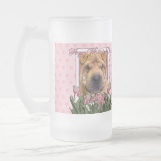 Día de madres - tulipanes rosados - chino Shar Pei Taza De Cristal