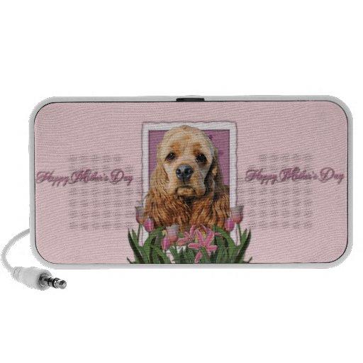 Día de madres - tulipanes rosados - cocker spaniel iPod altavoz