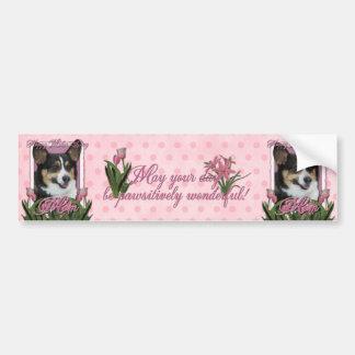 Día de madres - tulipanes rosados - Corgi Etiqueta De Parachoque
