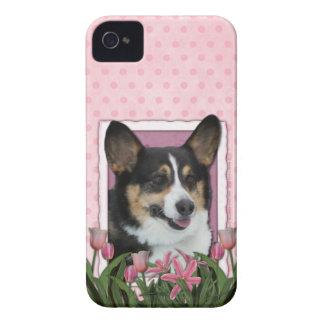 Día de madres - tulipanes rosados - Corgi - Owen Case-Mate iPhone 4 Cárcasas