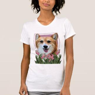 Día de madres - tulipanes rosados - Corgi - Owen Camisetas