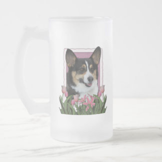 Día de madres - tulipanes rosados - Corgi Taza De Cristal