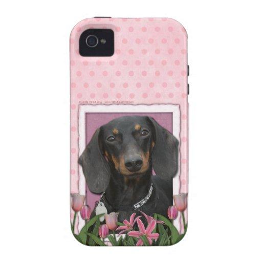Día de madres - tulipanes rosados - Dachshund - iPhone 4/4S Carcasa