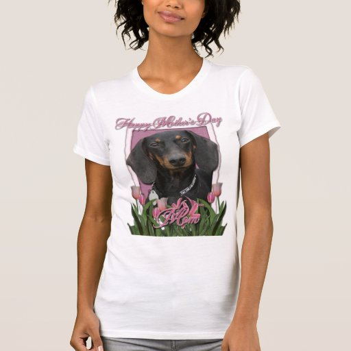 Día de madres - tulipanes rosados - Dachshund - Camisetas