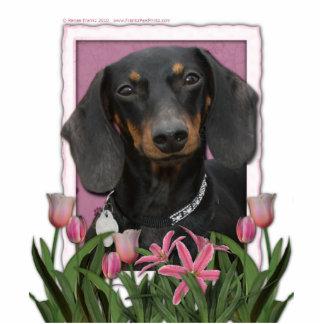 Día de madres - tulipanes rosados - Dachshund - Wi Fotoescultura Vertical
