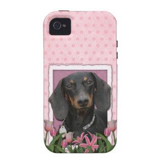 Día de madres - tulipanes rosados - Dachshund - Wi Vibe iPhone 4 Carcasas