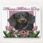 Día de madres - tulipanes rosados - Dachshund - Wi Tapetes De Ratón