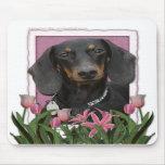 Día de madres - tulipanes rosados - Dachshund - Wi Tapetes De Ratones
