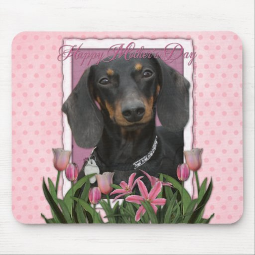 Día de madres - tulipanes rosados - Dachshund - Wi Tapete De Ratón