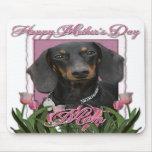 Día de madres - tulipanes rosados - Dachshund - Wi Alfombrilla De Ratones