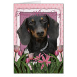 Día de madres - tulipanes rosados - Dachshund - Wi Tarjetón