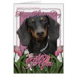 Día de madres - tulipanes rosados - Dachshund - Wi Felicitacion