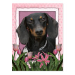 Día de madres - tulipanes rosados - Dachshund - Wi Postales