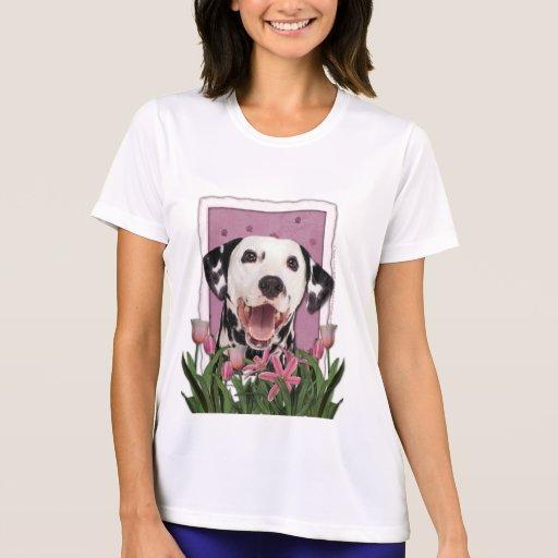 Día de madres - tulipanes rosados - Dalmatian Camiseta