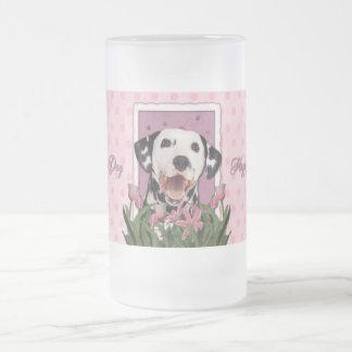 Día de madres - tulipanes rosados - Dalmatian Taza De Cristal