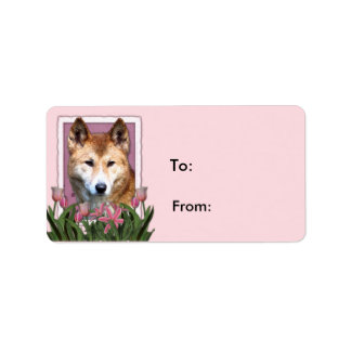 Día de madres - tulipanes rosados - Dingo Etiquetas De Dirección