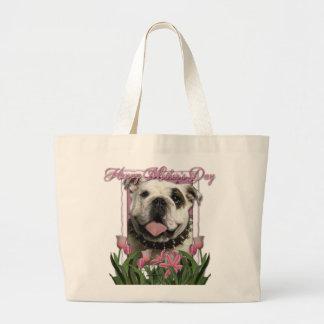 Día de madres - tulipanes rosados - dogo bolsa tela grande