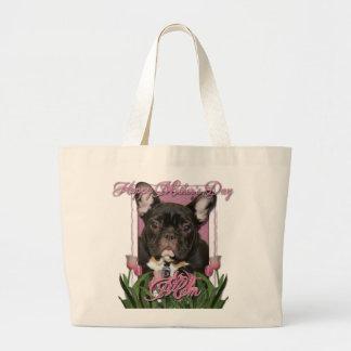 Día de madres - tulipanes rosados - dogo francés - bolsa tela grande