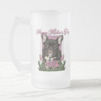 Día de madres - tulipanes rosados - dogo francés - taza de cristal