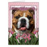 Día de madres - tulipanes rosados - dogo felicitacion