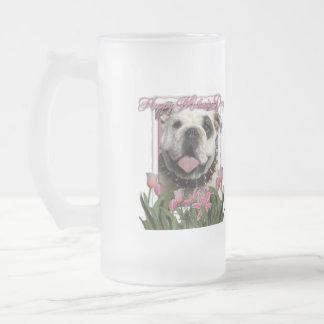 Día de madres - tulipanes rosados - dogo taza de cristal