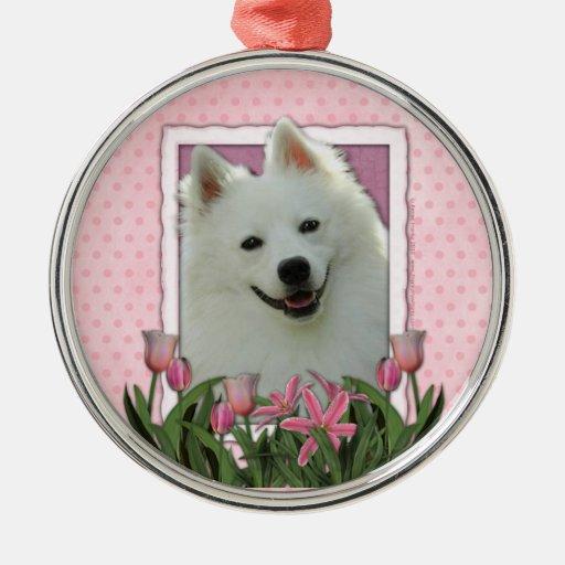 Día de madres - tulipanes rosados - esquimal adorno redondo plateado