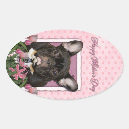 Día de madres - tulipanes rosados - Frenchie - Pegatina Ovalada