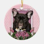 Día de madres - tulipanes rosados - Frenchie - tru Ornamento De Navidad