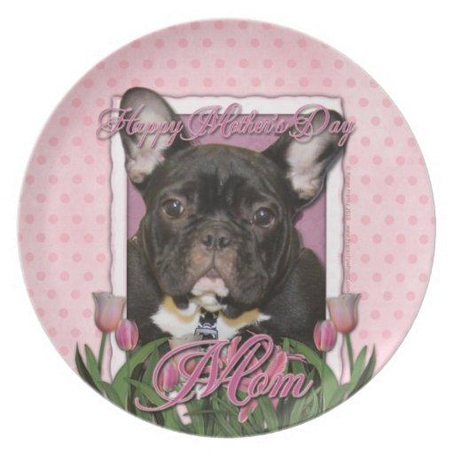 Día de madres - tulipanes rosados - Frenchie - tru Plato Para Fiesta