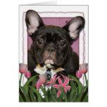 Día de madres - tulipanes rosados - Frenchie - tru Felicitacion