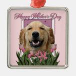 Día de madres - tulipanes rosados - golden adornos de navidad